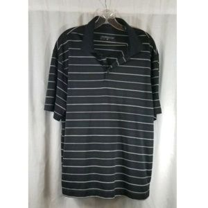 Nike Golf Black White Striped Short Sleeve Polo L